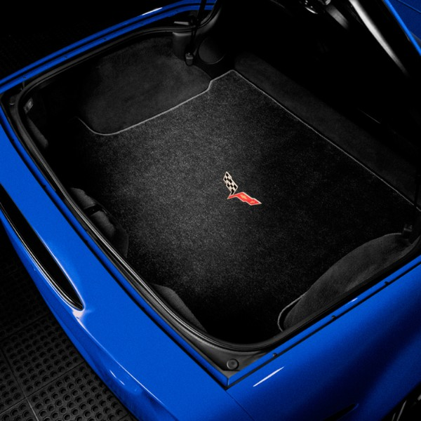 Corvette Coupe, Rear Cargo Area, Crossed-Flag Logo, Ebony