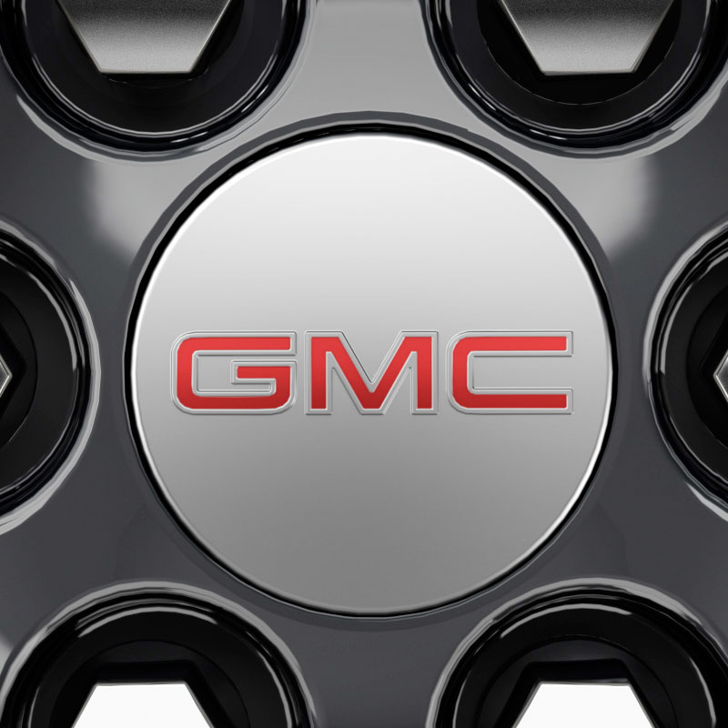 2018 Acadia Center Caps, Red GMC Logo, Mill Bright, Set of 4