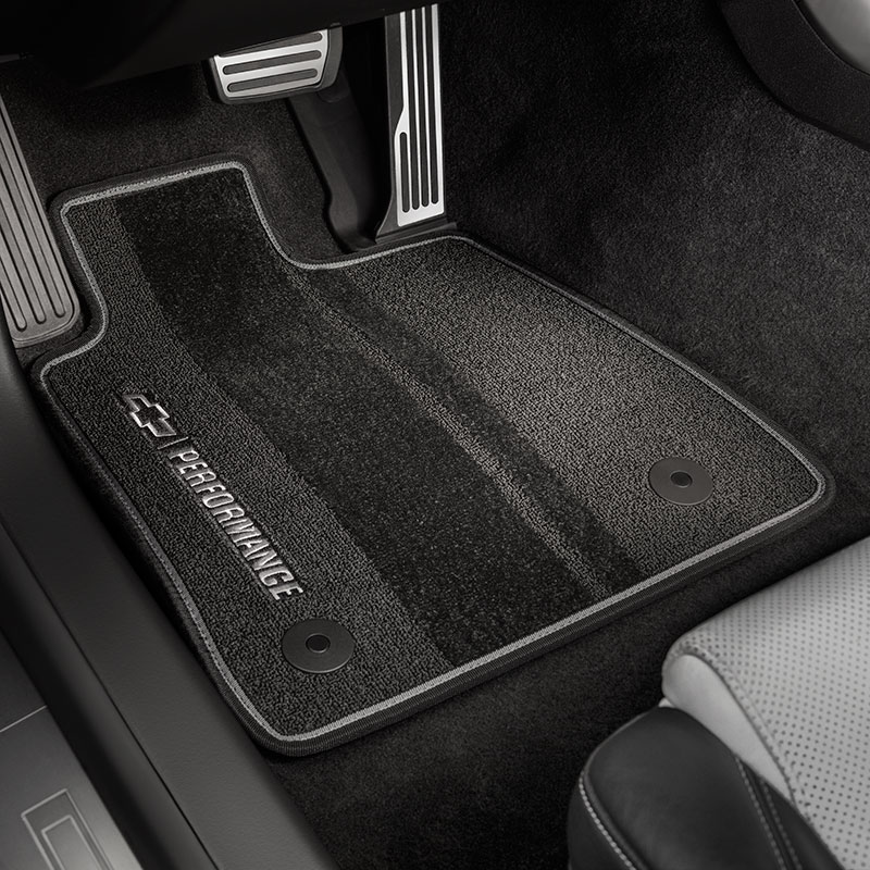 2016 Camaro Front & Rear Premium Carpet Floor Mats, Black with Gray Bi