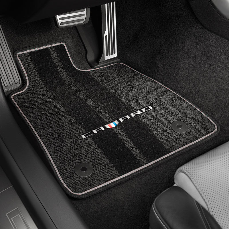 2016 Camaro Floor Mats, Premium Carpet, Front & Rear, Black w Gray Bin