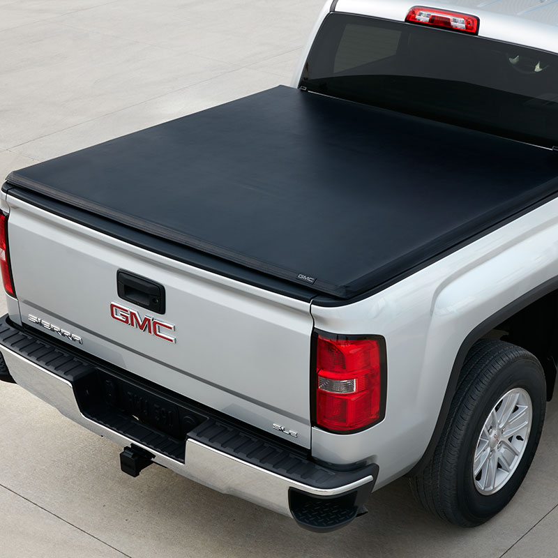 2016 Sierra 3500 Tonneau Cover, Hard Folding, Black Vinyl, 8'