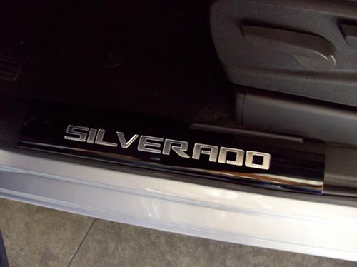 2016 Suburban Front Door Sills with Silverado lettering, Black