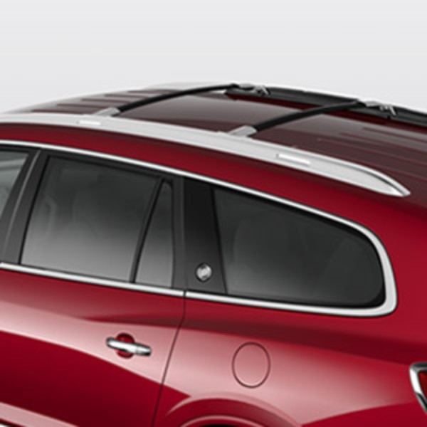 2013 Enclave Roof Rack Cross Rails Black W Chrome End