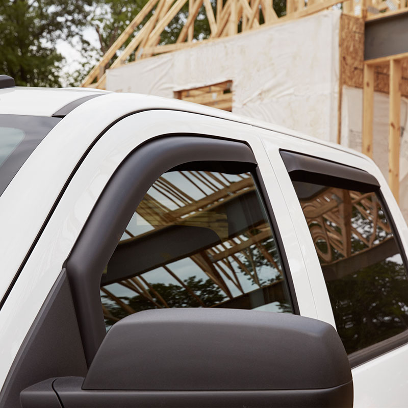 2016 Silverado 3500 Side Window Weather Deflectors, Double Cab, Matte Black, In-Channel