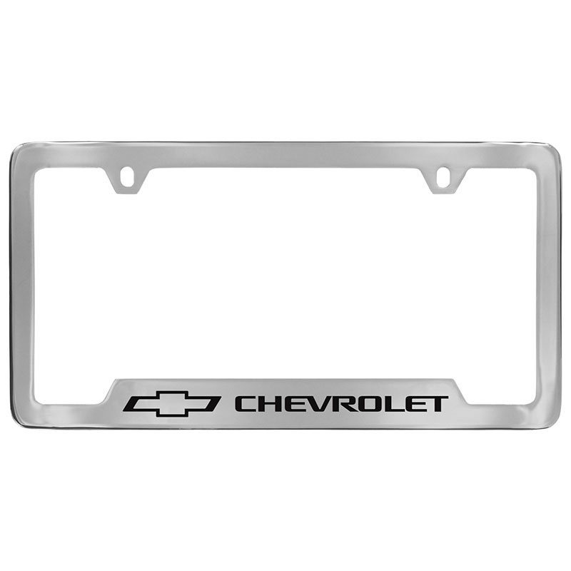 2019 Camaro License Plate Frame, Chrome with Black Chevrolet Bowtie ...