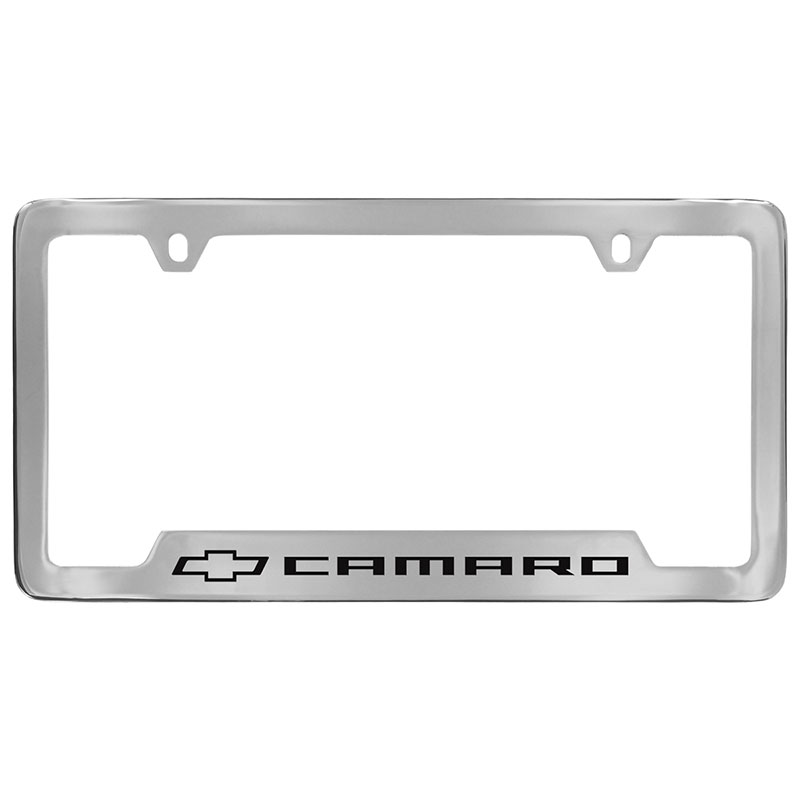 2020 Camaro License Plate Frame, Chrome with Black Camaro Bowtie Logo