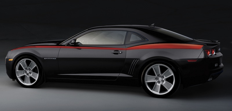 Camaro Heritage Vertical Body Stripe, Red 2010 2011 2012