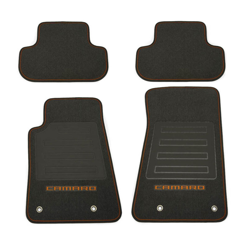 Camaro Floor Mats - Front and Rear Set, Black Carpet, Mojave Camaro Lo