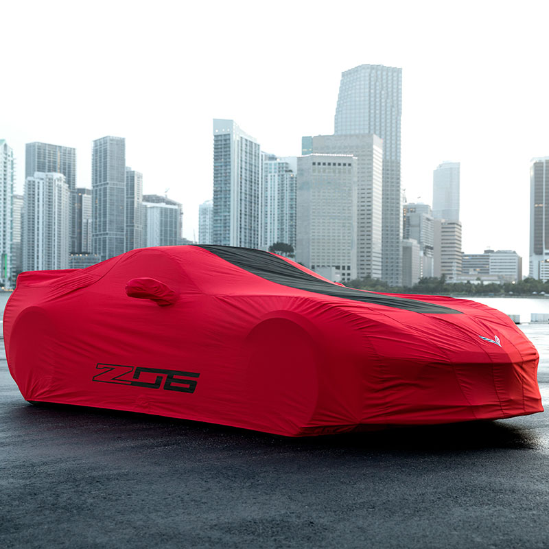 2019 Corvette Stingray Car Cover, Outdoor, Z06 Logos, Red with Black Stripe, Premium Cover