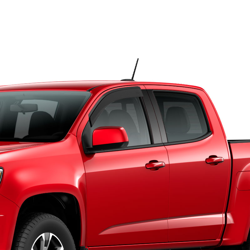 2021 Colorado Side Window Weather Deflectors, Extended Cab, Smoke Black, Low Profile