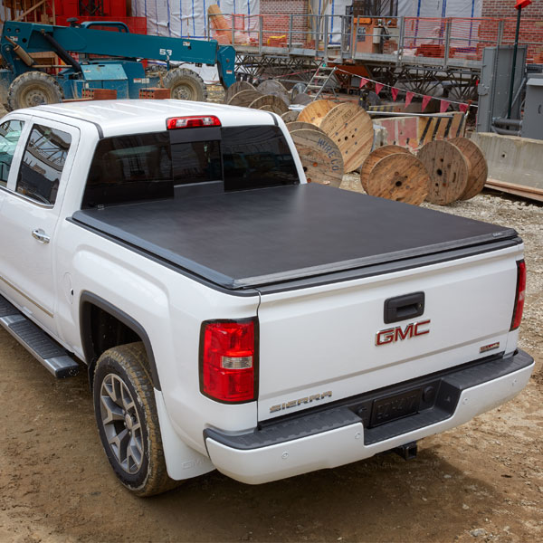 2018 Sierra 3500 Tonneau Cover, Soft Folding, Vinyl, Black, 8ft