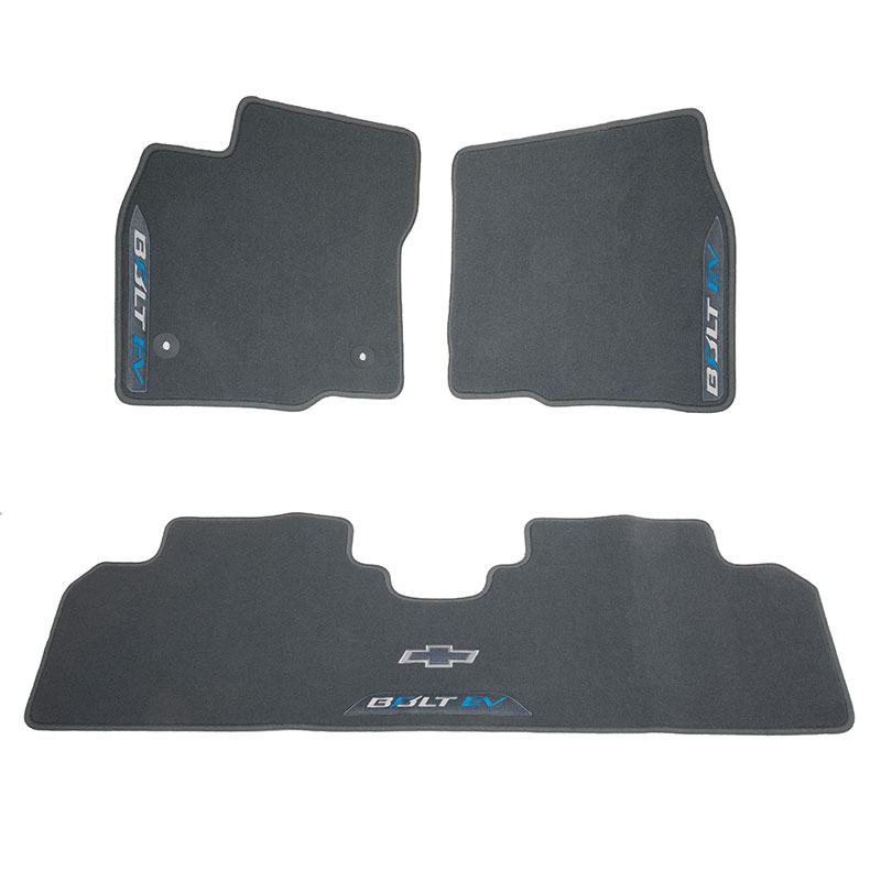 2018 Bolt EV Floor Mats, Dark Galvanized, Front & Rear, Bolt Logo, Premium Carpet