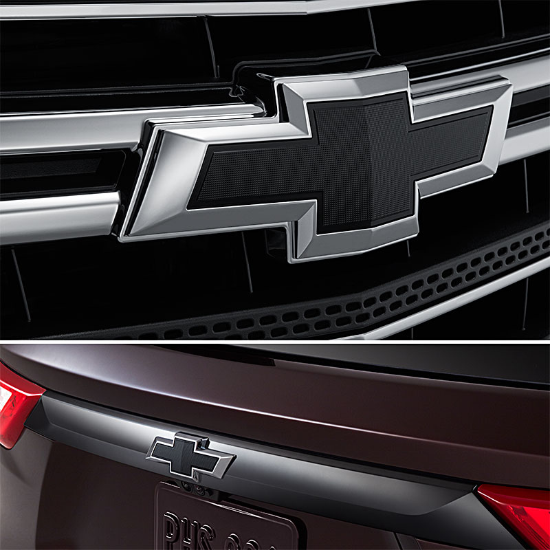 2018 Traverse Bowtie Emblem, Black, Front and Rear