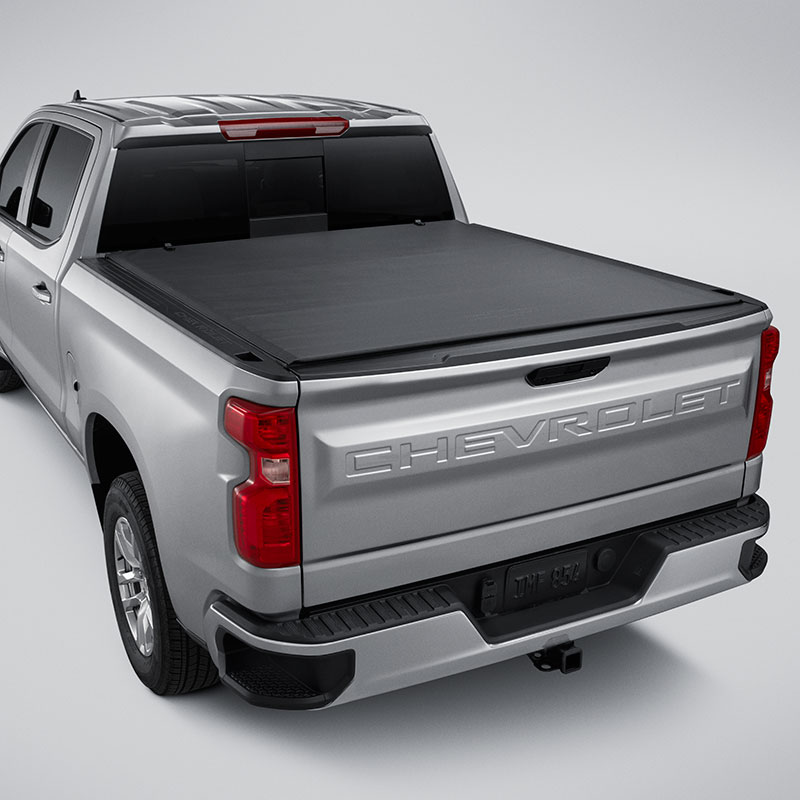 2019 Silverado 1500 Tonneau Cover, Short Box, Soft Roll-Up, Bowtie Logo