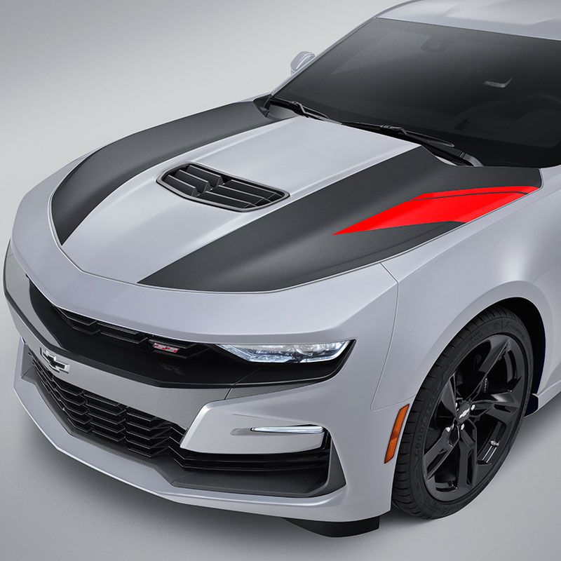 2019 Camaro Hood Decal Package, Satin Black with Driver side Red Hot Hash Mark, Set of 2