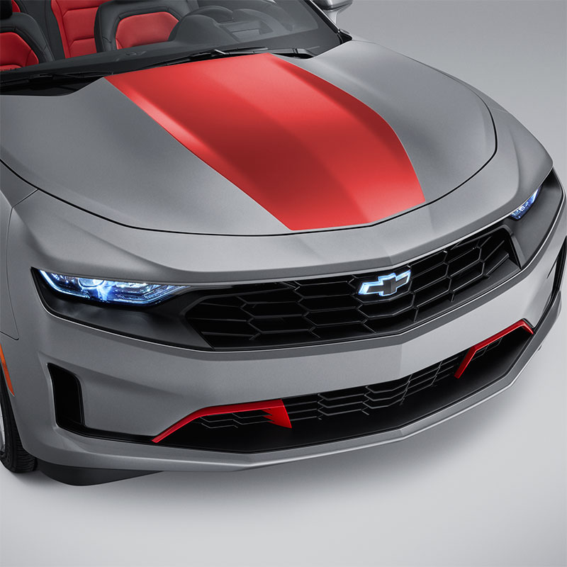2020 Camaro Hood Decal Package, Center Stinger Stripe, Red Hot, LS & LT Coupe Models