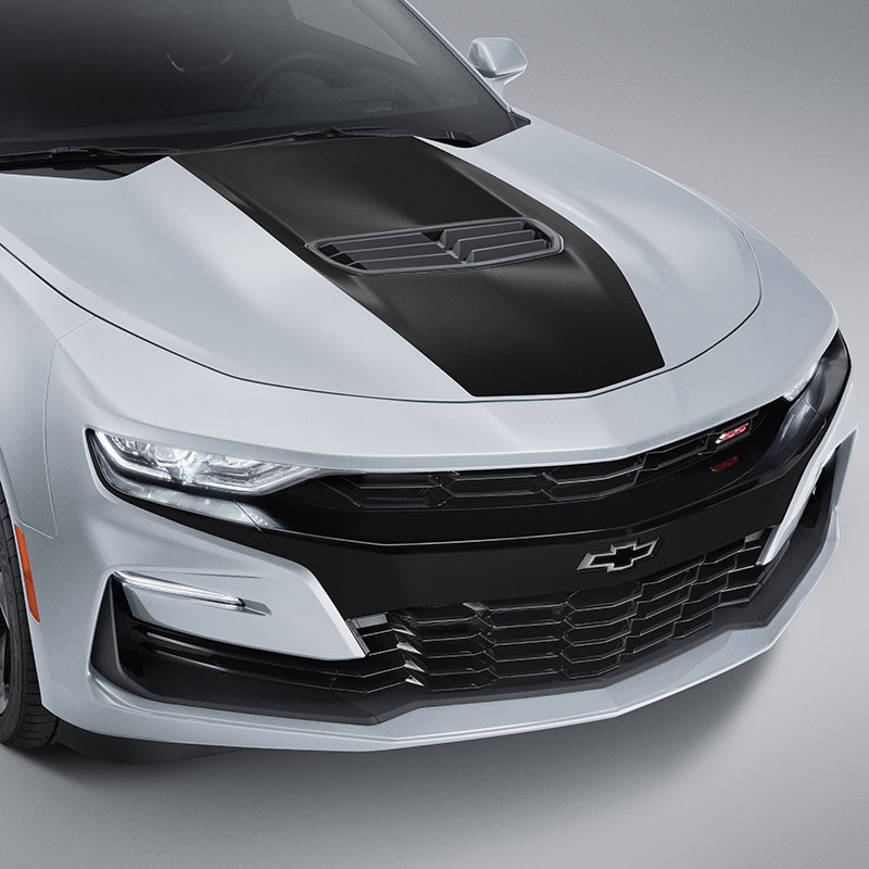 2020 Camaro Hood Decal Package, Center Stinger Stripe, Satin Black, SS Coupe Models
