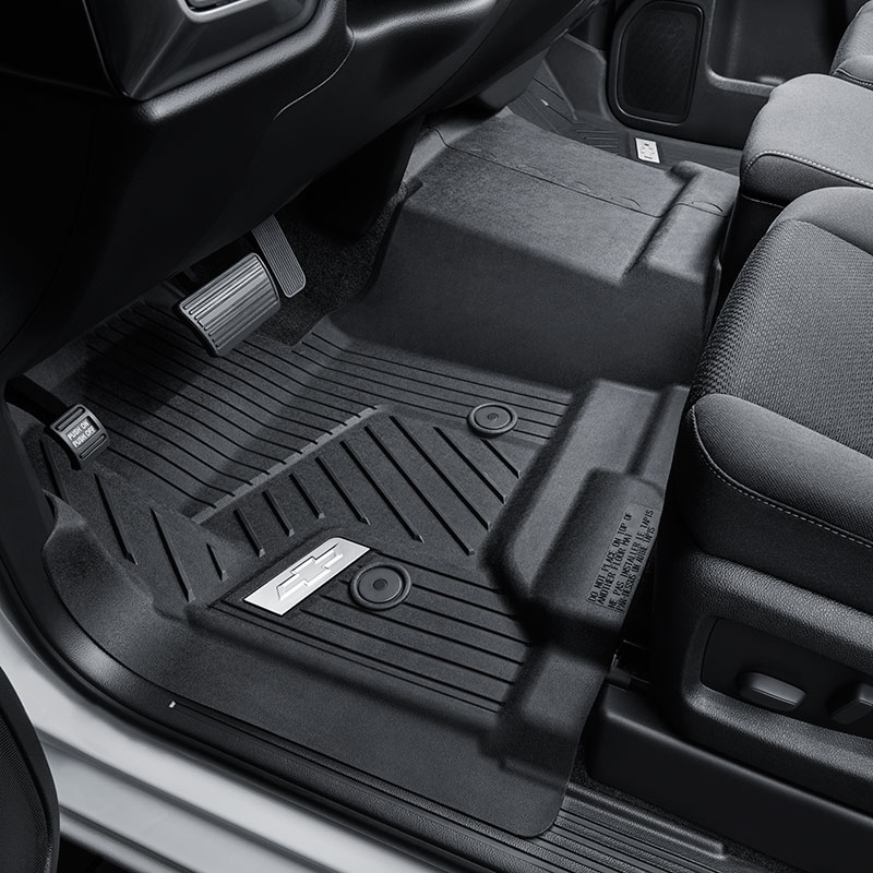 2018 Tahoe Floor Liners, Black, Front Row, No Center Console, Chrome Bowtie