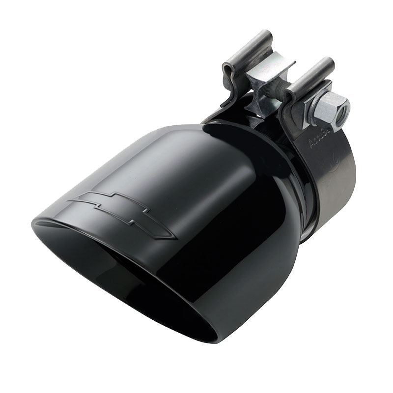 2020 Colorado Exhaust Tip, Black Chrome, 3.6L Engine, Angle Cut, Dual Wall, Chevrolet Bowtie Logo