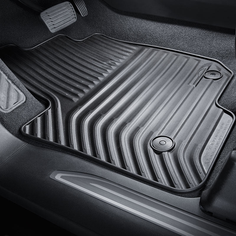 2019 Silverado 1500 Floor Mats, Black, Crew Cab, Front and Rear Sets, All Weather