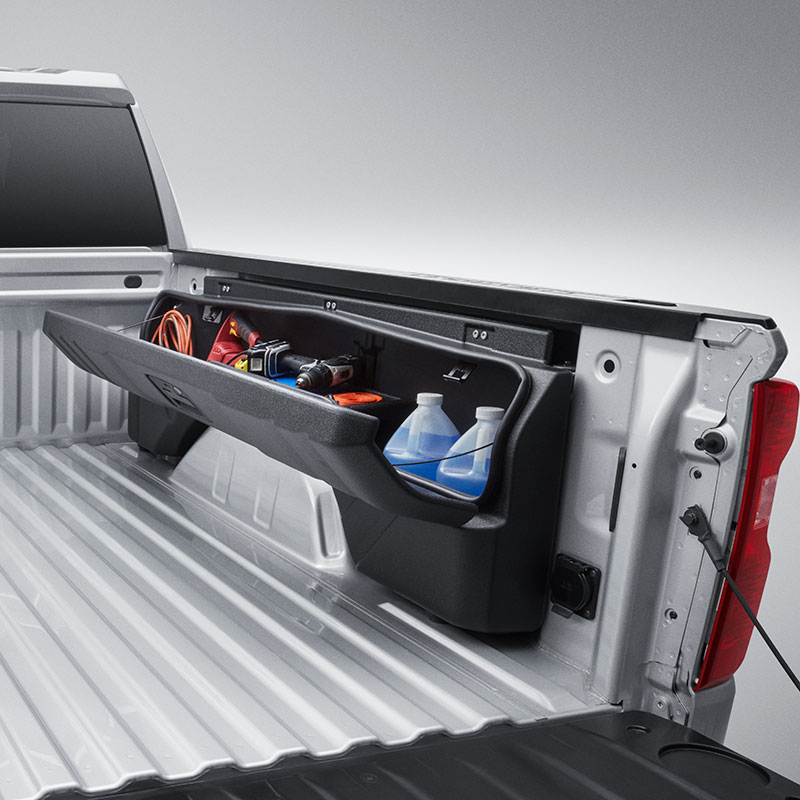 2019 Silverado 1500 Side Mounted Bed Storage Box, Passenger Side, Short Box